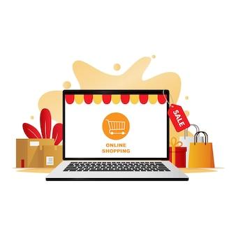 Concept de magasinage en ligne avec application de boutique en ligne sur illustration d'ordinateur portable