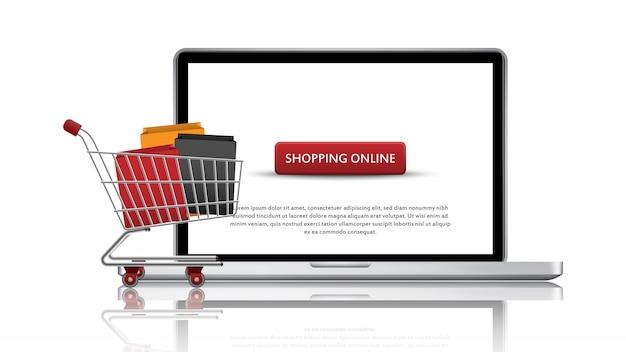Concept de magasinage en ligne, boutique en ligne pour ordinateur portable