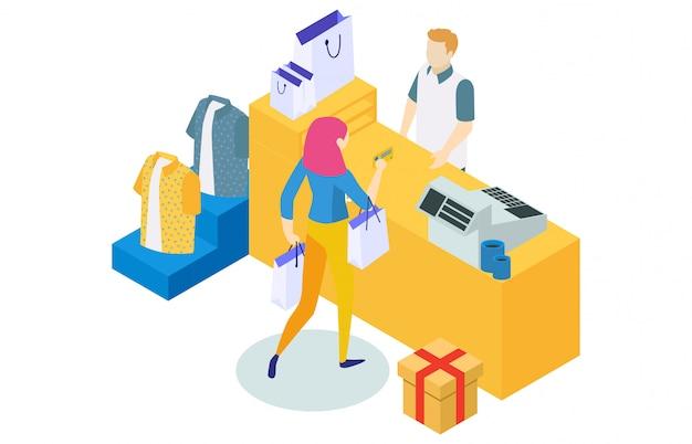 Concept de magasinage en ligne avec caractère