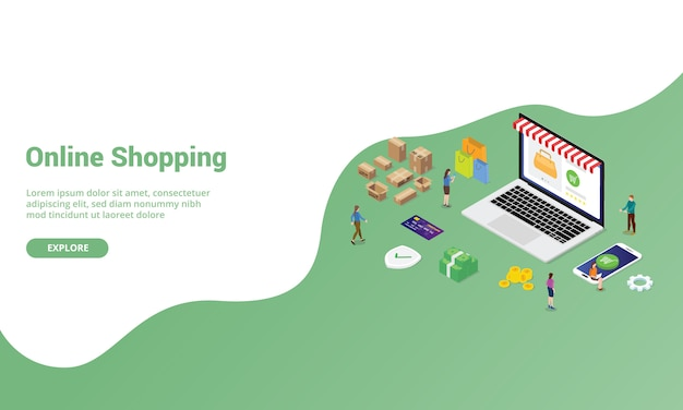 Concept de magasinage en ligne ou de commerce électronique pour un modèle de site web ou une page d'accueil avec un style moderne isométrique