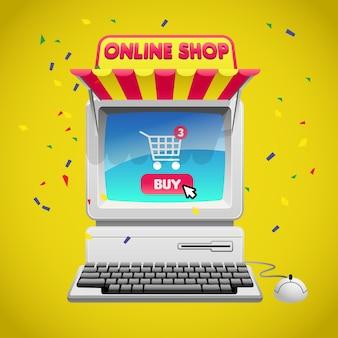 Concept de magasinage en ligne avec image de l'ordinateur