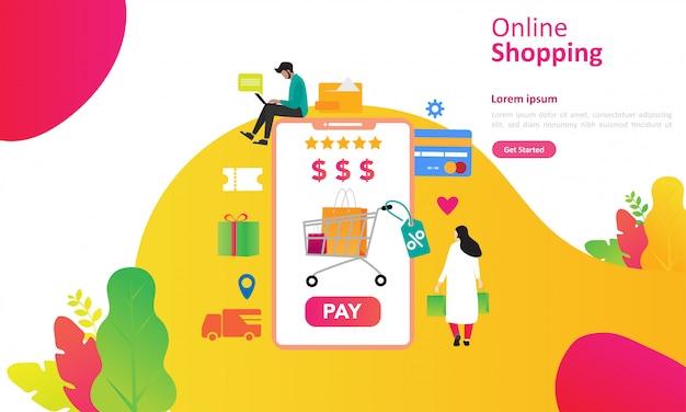 Concept de magasinage en ligne avec personnage personnage pour la page de renvoi web