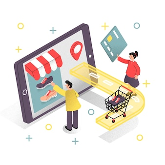 Concept de magasinage en ligne pour la page de destination