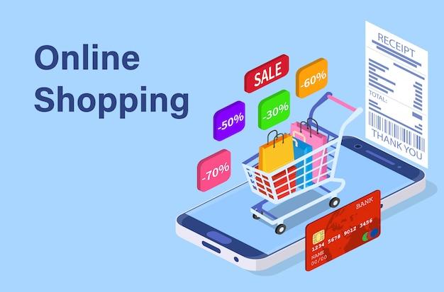 Concept de magasinage en ligne de téléphone intelligent isométrique.