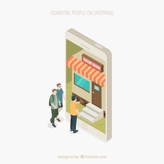 Concept de magasinage avec des personnes en vue isométrique