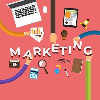 Concept main créer du marketing. illustrations.