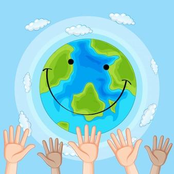 Concept de main de jour de la terre