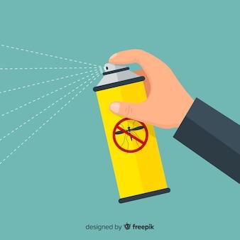 Concept, de, main, tenue, spray moustique