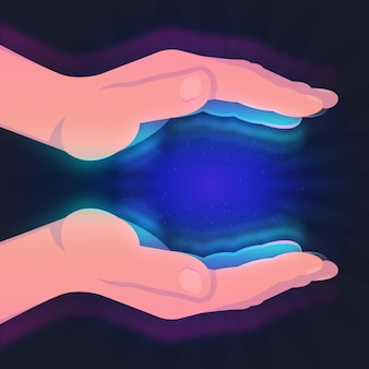 Concept de mains de guérison énergétique