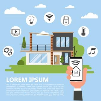 Concept de maison intelligente. idée de technologie sans fil