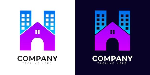 Concept de maison et de maison de logo de lettre initiale de style moderne de gradient h