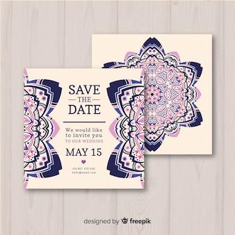 Concept de mandala de modèle d'invitation de mariage