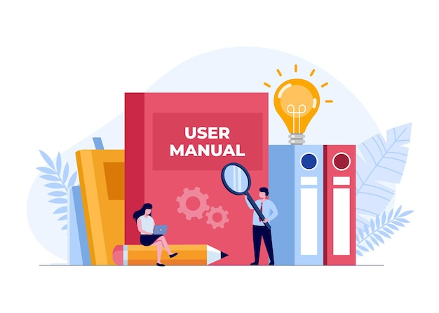 Concept de manuel d'utilisation, produit de manuel, guide, livre d'instructions, modèle vectoriel d'illustration plate