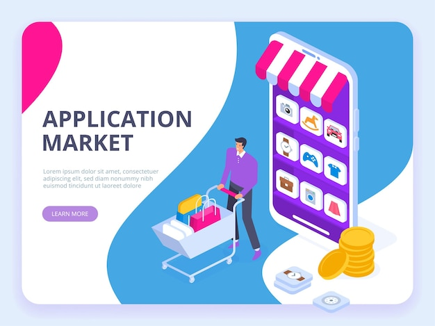 Concept de marché des applications
