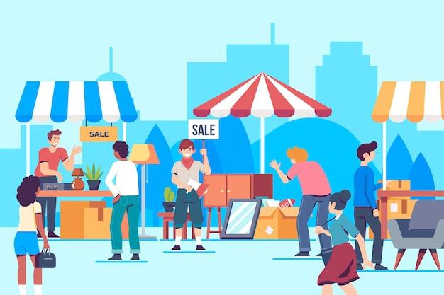 Concept de marché aux puces dessiné à la main
