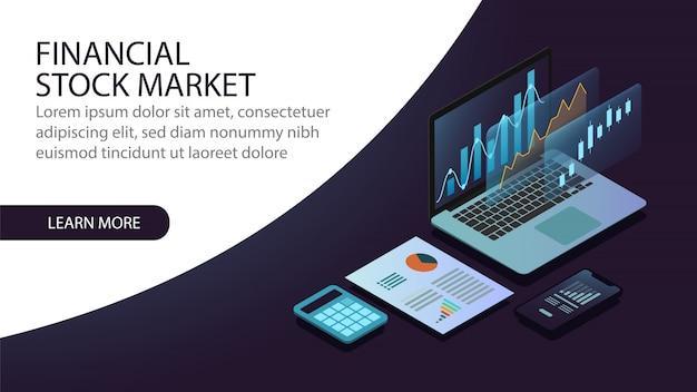 Concept de marché financier isométrique