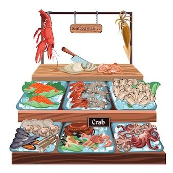 Concept de marché de fruits de mer