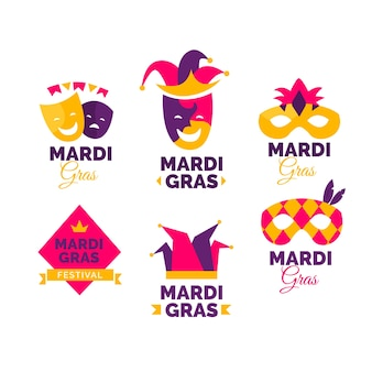 Concept de mardi gras pour la collection de badges