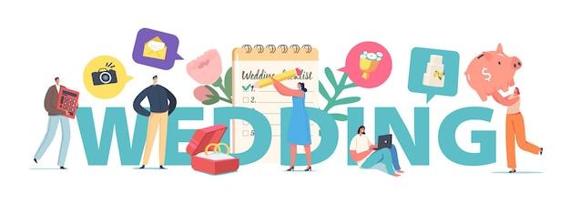 Concept de mariage de planification de couple, personnages masculins et féminins minuscules à la liste de contrôle de remplissage de planificateur énorme avant la cérémonie de mariage. affiche d'organisation d'événement, flyer de bannière. illustration vectorielle de gens de dessin animé