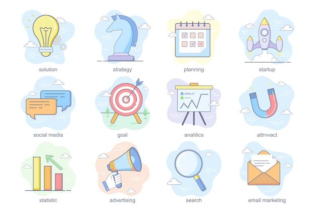 Concept marketing icônes plates définies paquet de stratégie de solution planification démarrage des médias sociaux objectif anal...
