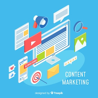 Concept de marketing en ligne moderne avec vue isométrique