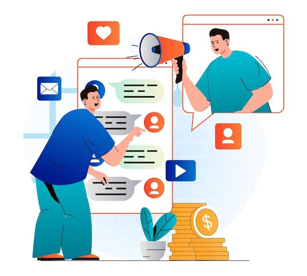 Concept de marketing des médias sociaux dans un design plat moderne l'homme utilise messenger sur téléphone mobile
