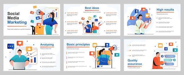 Concept de marketing des médias sociaux pour le modèle de diapositive de présentation les gens font la promotion des affaires en ligne