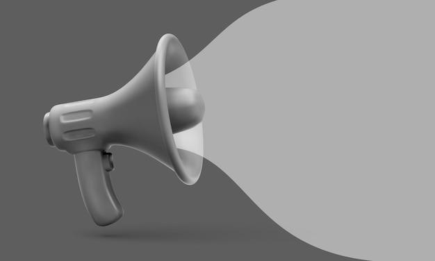 Concept de marketing de mégaphone en plastique noir réaliste. illustration vectorielle