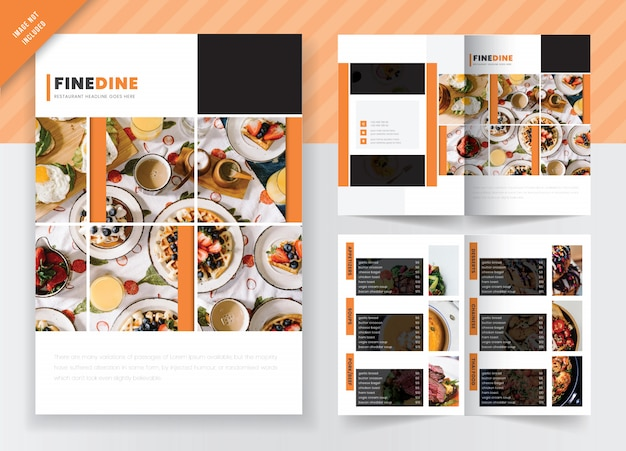 Concept de marketing de nourriture et de restaurant bi- fold brochure template design