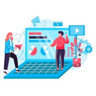 Concept de marketing numérique. une équipe de spécialistes du marketing analyse les données, crée du contenu publicitaire, développe une scène de personnage de stratégie de promotion en ligne. illustration vectorielle au design plat avec des activités de personnes