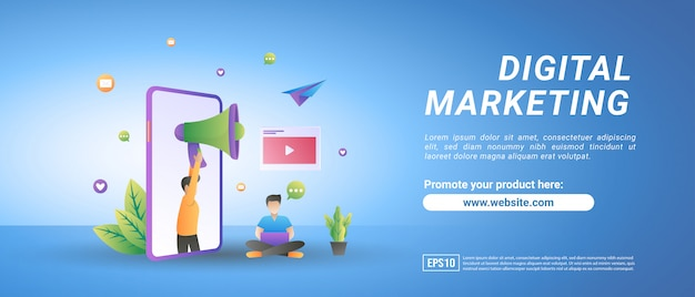 Concept de marketing numérique. les gens annoncent des produits sur les réseaux sociaux, partagent du contenu vidéo promotionnel.