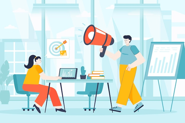 Concept de marketing numérique en illustration design plat de personnages de personnes pour la page de destination