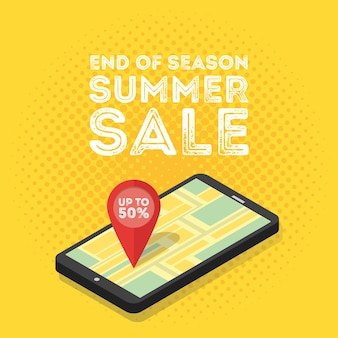 Concept de marketing numérique mobile 3d. smartphone isométrique avec carte et tags. illustration vectorielle de style vintage rétro