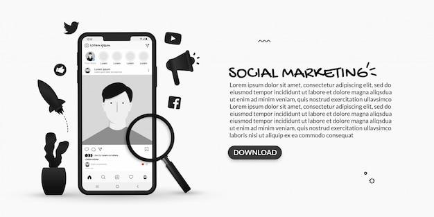 Concept de marketing numérique et de publicité sociale