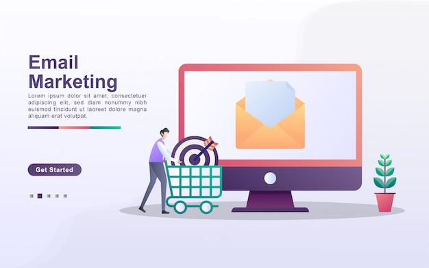 Concept de marketing par courriel. campagne de publicité par e-mail, e-marketing, atteindre le public cible avec des e-mails. envoyez et recevez du courrier.