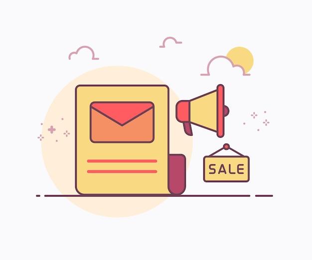 Concept de marketing par courrier électronique lettre électronique autour de l'icône de mégaphone avec illustration de conception de vecteur de style de ligne unie de couleur douce