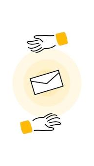 Concept de marketing par e-mail avec un petit personnage les gens ouvrent et lisent des e-mails publicitaires sur un écran plat