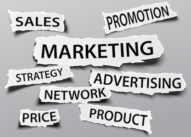 Concept de marketing sur le titre de papier déchiré