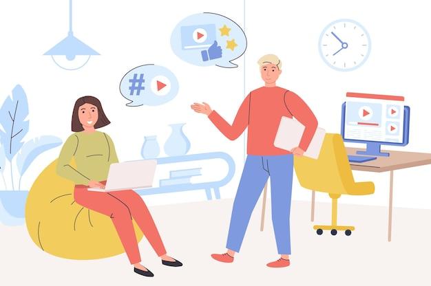 Concept de marketing vidéo l'équipe crée du contenu vidéo faisant une campagne publicitaire