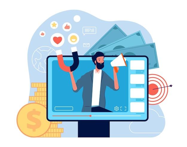 Concept de marketing vidéo. publicité de communication sociale de réseau de blogs vidéo auto promo.