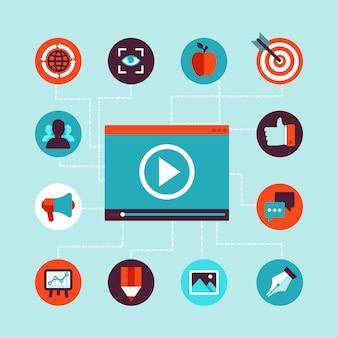 Concept de marketing vidéo vectoriel dans un style plat
