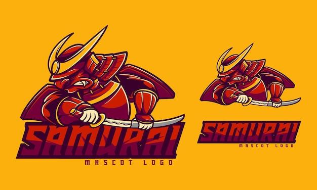 Concept mascotte logo samouraï avec style cartoon