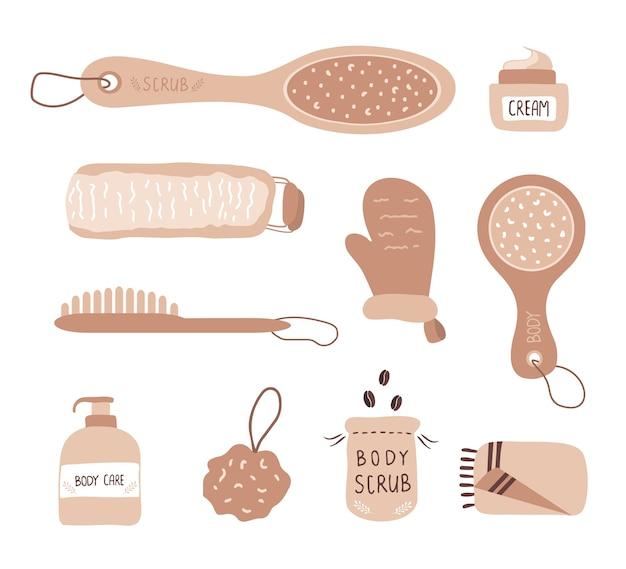 Concept de massage anti cellulite. gommage au café et brosse corporelle sèche.