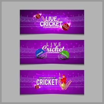 Concept de match de cricket avec stade, batteur jouant au cricket et trophée d'or, collection de bannières