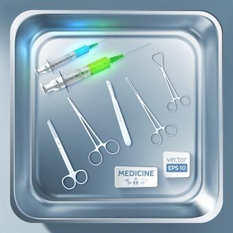 Concept de matériel de chirurgie avec des seringues pince à scalpel ciseaux en métal stérilisateur isolé