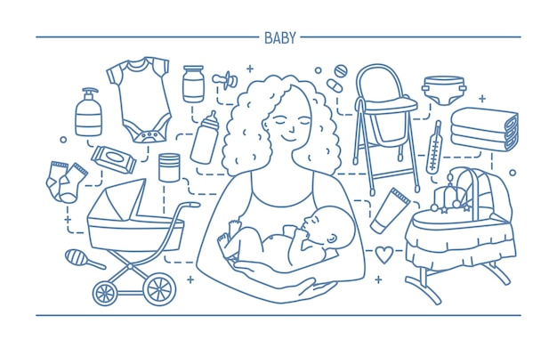 Concept de maternité. bannière horizontale avec mère et bébé