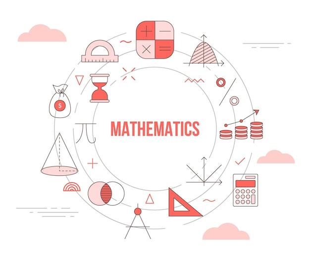 Concept de mathématiques avec bannière de modèle de jeu d'icônes avec style de couleur orange moderne et cercle illustration de forme ronde