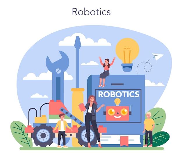 Concept de matière scolaire de robotique.