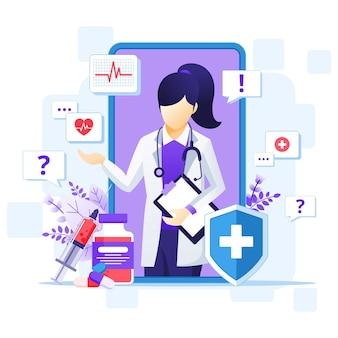 Concept de médecin en ligne, illustration d'assistance médicale en ligne