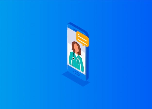 Concept de médecin en ligne isométrique. médecin professionnel en ligne sur un smartphone